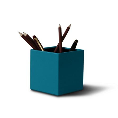 Portalápices cuadrado - Azul turqués - Piel Liso