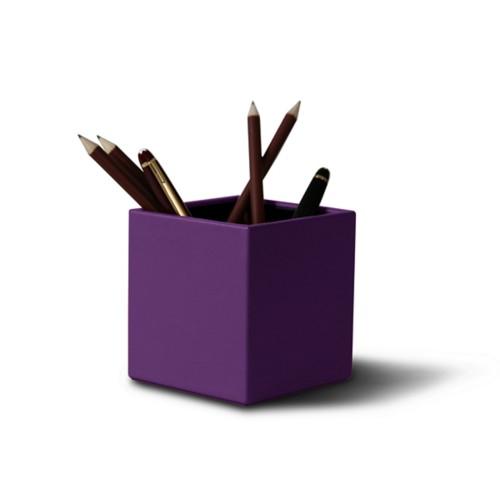 Vierkante penhouder - Lavendel - Soepel Leer