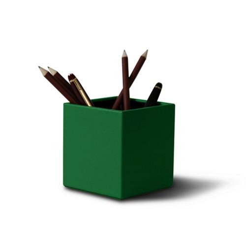 Portalápices cuadrado - Verde claro - Piel Liso