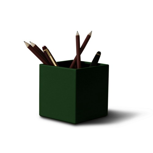 Quodrato portapenne - Verde scuro - Pelle Liscia