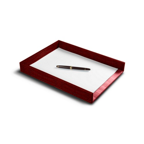 A4 Letter tray - Red - Crocodile style calfskin