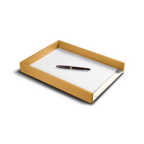 A4 Letter tray - Mustard Yellow - Smooth Leather