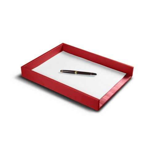 A4 Letter tray - Red - Smooth Leather