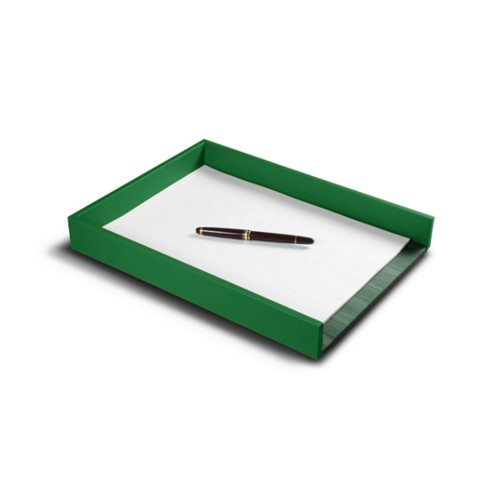 A4 Letter tray - Light Green - Smooth Leather