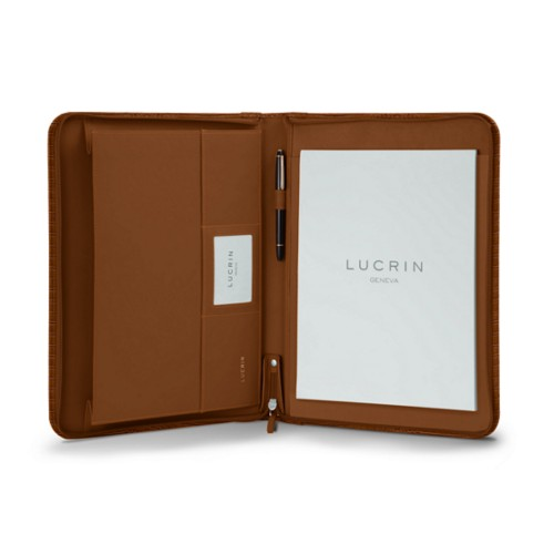 A4/US letter padfolio with zipper - Camel - Crocodile style calfskin