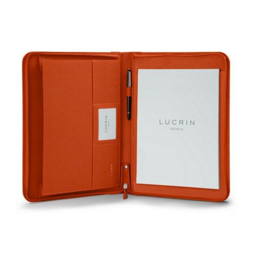 Porte-documents A4 avec soufflet - Orange - Cuir Grainé