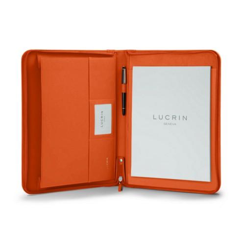 Porte-documents A4 avec soufflet - Orange - Cuir Lisse