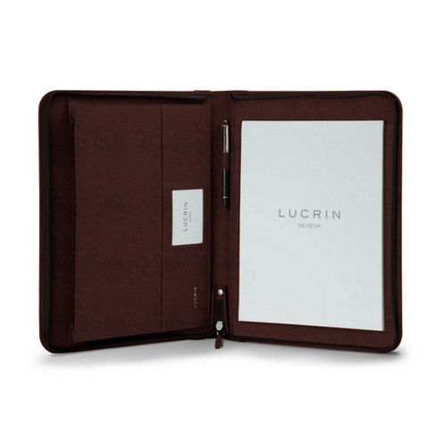 A4 Padfolio with zipper - Dark Brown - Vegetable Tanned Leather