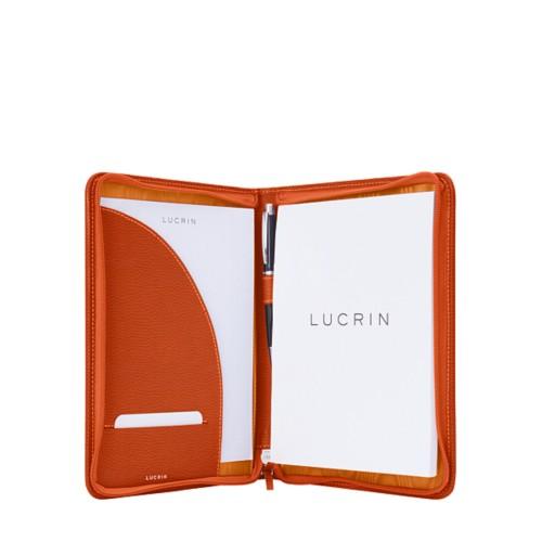 Porte-documents A5 zippé - Orange - Cuir Grainé