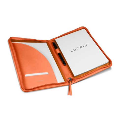 Porte-documents A5 zippé - Orange - Cuir Lisse
