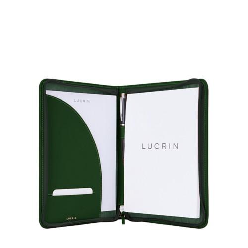 Porte-documents A5 zippé - Vert Foncé - Cuir Lisse