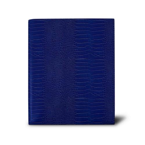 Week-to-week Desk Diary (7.1x 8.7 inches) - Royal Blue - Crocodile style calfskin