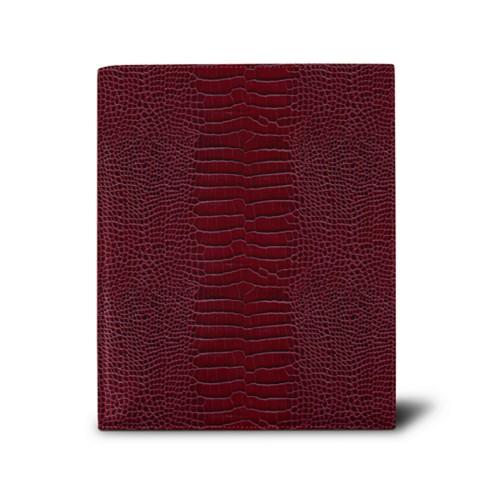 Week-to-week Desk Diary (7.1x 8.7 inches) - Fuchsia  - Crocodile style calfskin