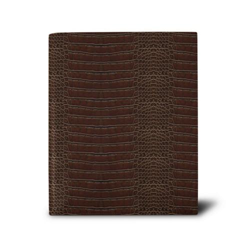 Week-to-week Desk Diary (7.1x 8.7 inches) - Dark Brown - Crocodile style calfskin