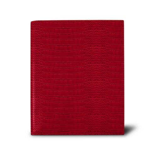 Week-to-week Desk Diary (7.1x 8.7 inches) - Red - Crocodile style calfskin