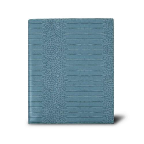 Week-to-week Desk Diary (7.1x 8.7 inches) - Turquoise - Crocodile style calfskin
