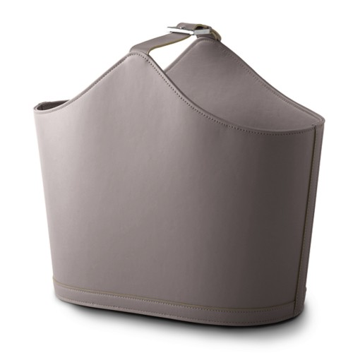 Newspaper and Magazine Holder - Light Taupe - Smooth Leather