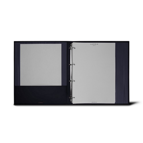 A4 Ring binder - 4 rings (200 sheets) - Navy Blue - Bonded Leather