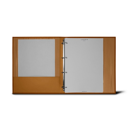 A4 Ring binder - 4 rings (200 sheets) - Natural - Bonded Leather