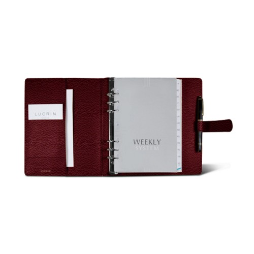 Large organiser (180 x 245 mm) - Burgundy - Granulated Leather