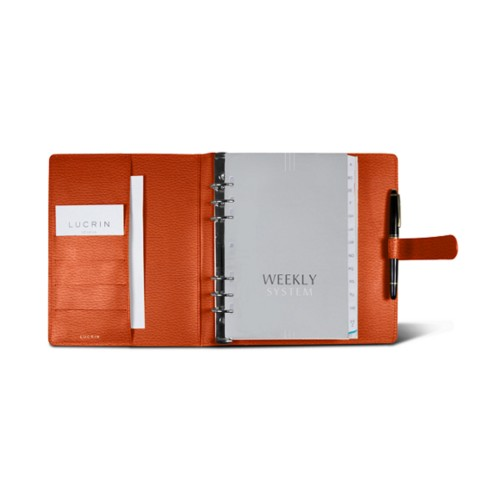 Large organiser (180 x 245 mm) - Orange - Granulated Leather