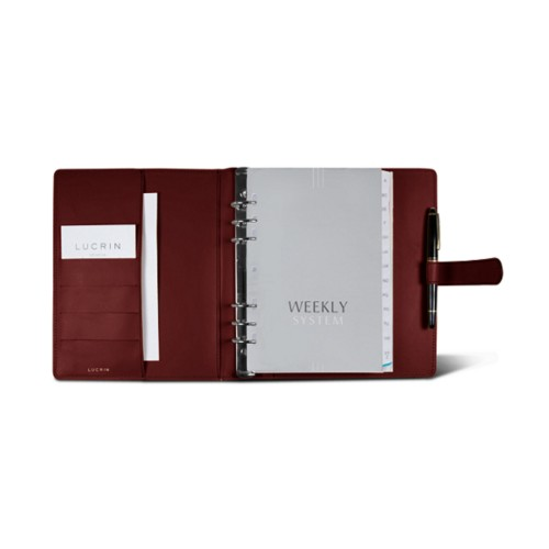 Large organiser (180 x 245 mm) - Burgundy - Smooth Leather