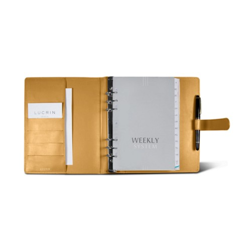 Large organiser (180 x 245 mm) - Mustard Yellow - Smooth Leather