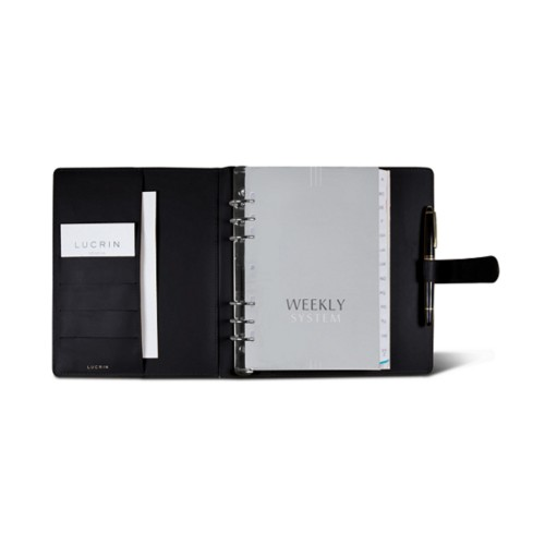Large organiser (180 x 245 mm) - Black - Smooth Leather