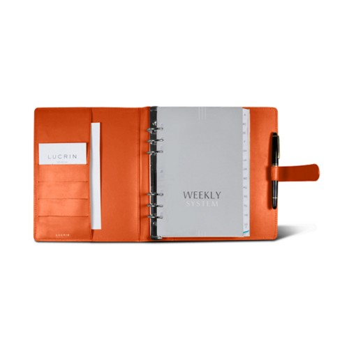 Large organiser (180 x 245 mm) - Orange - Smooth Leather