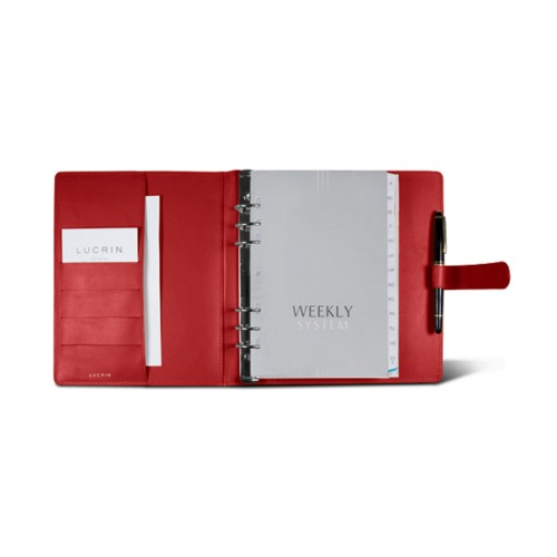 Large organiser (180 x 245 mm) - Red - Smooth Leather
