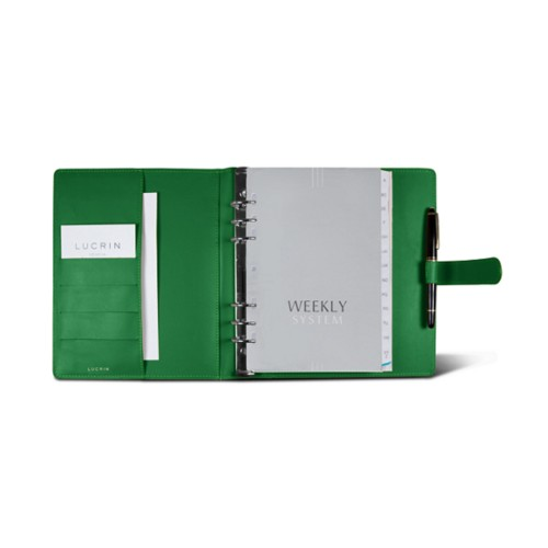 Large organiser (180 x 245 mm) - Light Green - Smooth Leather
