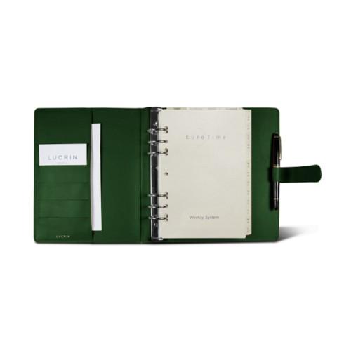 Large organiser (180 x 245 mm) - Dark Green - Smooth Leather