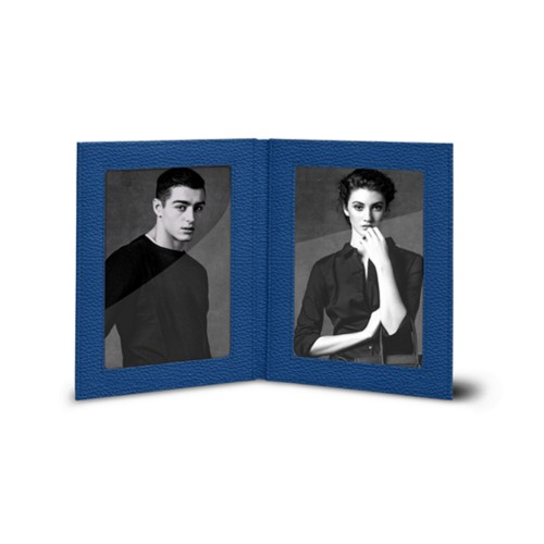 Bilderrahmen für 2 Fotos, 14,5 x 19 cm - Azurblau  - Genarbtes Leder