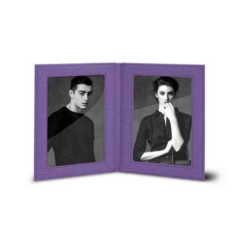 Dubbele fotolijst (14.5 x 19 cm) - Lavendel - Korrelig Leer