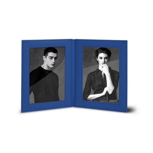 Bilderrahmen für 2 Fotos, 14,5 x 19 cm - Azurblau  - Glattleder