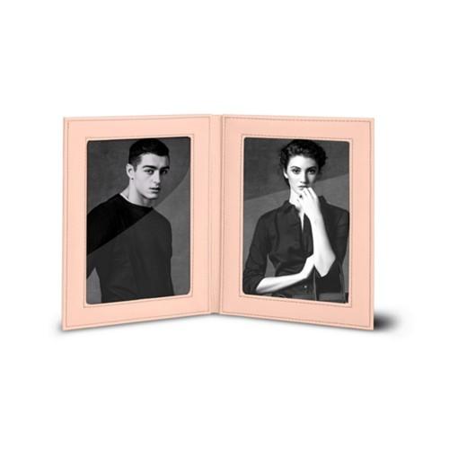 Bilderrahmen für 2 Fotos, 14,5 x 19 cm - Nude - Glattleder