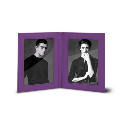 Dubbele fotolijst (14.5 x 19 cm) - Lavendel - Soepel Leer