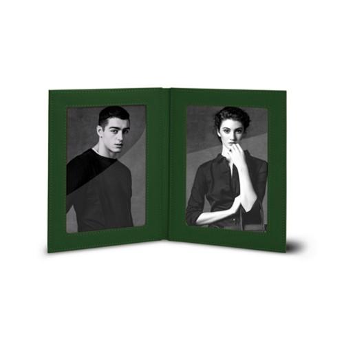 Bilderrahmen für 2 Fotos, 14,5 x 19 cm - Dunkelgrün - Glattleder