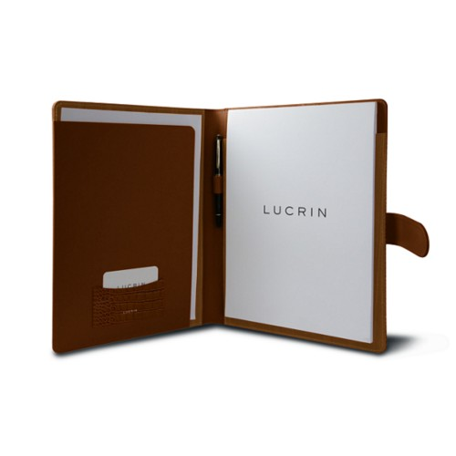 A4/US-letter conference folder with loop - Camel - Crocodile style calfskin