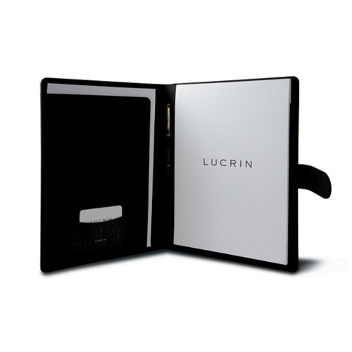 A4/US-letter conference folder with loop - Black - Crocodile style calfskin