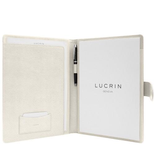 Porte-documents A4 languette aimantée - Blanc Cassé - Cuir Grainé