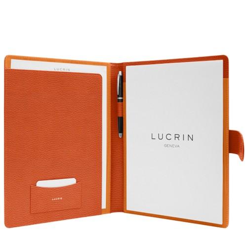 Porte-documents A4 languette aimantée - Orange - Cuir Grainé