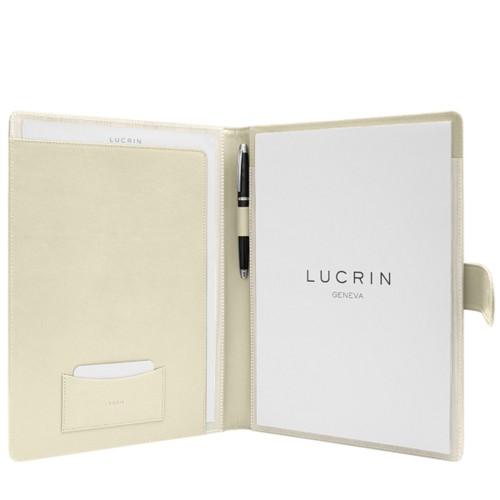 Porte-documents A4 languette aimantée - Blanc Cassé - Cuir Lisse
