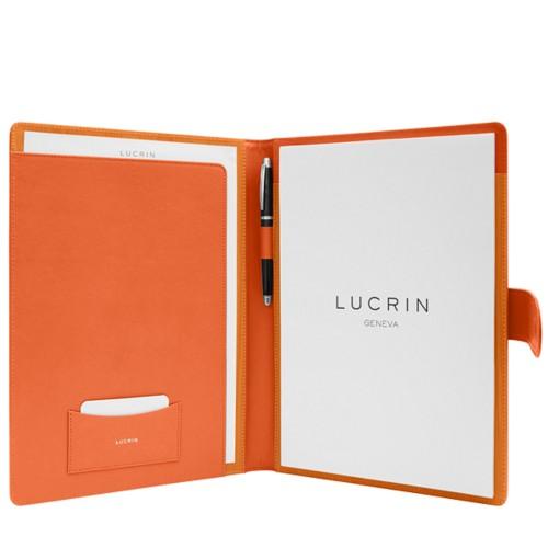 Porte-documents A4 languette aimantée - Orange - Cuir Lisse
