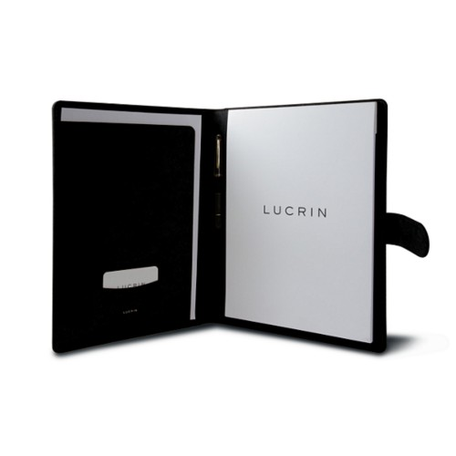 A4/US-letter conference folder with loop - Black - Vegetable Tanned Leather