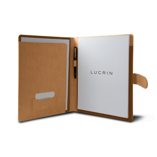 A4/US-letter conference folder with loop - Natural - Vegetable Tanned Leather