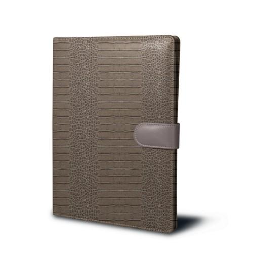 A4/US-letter conference folder - Light Taupe - Crocodile style calfskin