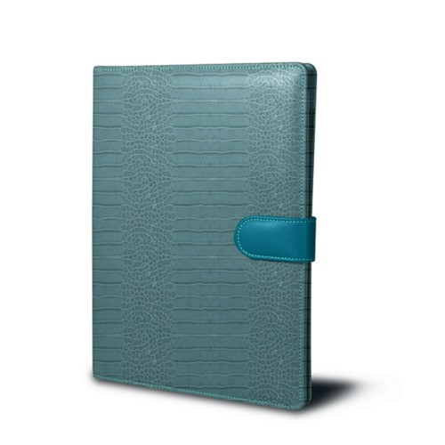 A4/US-letter conference folder - Turquoise - Crocodile style calfskin