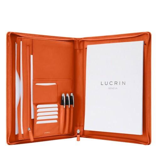 Porte-documents A4 zippé - Orange - Cuir Lisse