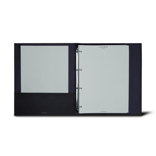 A4 ring binder - 4 rings (100 sheets) - Navy Blue - Granulated Leather